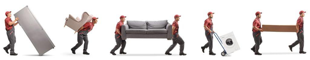 Umszugshelfer transportieren Möbel und Hausgeräte.